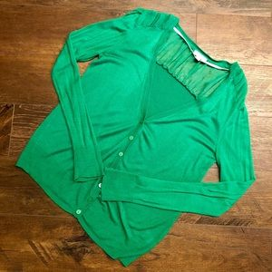 EUC Charming Charlie Green Cardigan Sheer Details